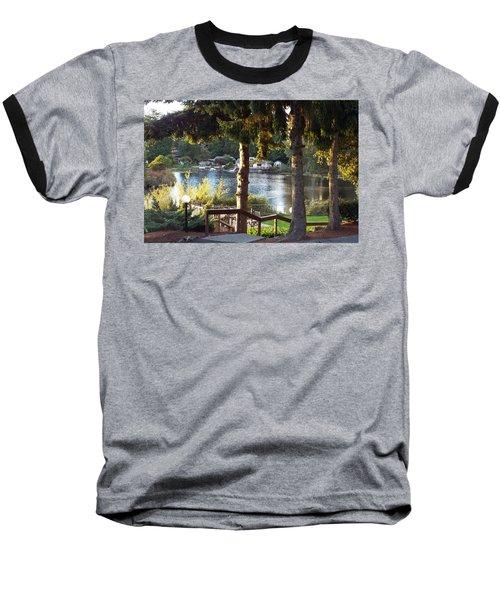 Baseball T-Shirt featuring the photograph  Beverly Lake View In Fall by Judyann Matthews