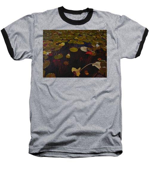 Baseball T-Shirt featuring the painting Lake Washington Lilypad 7 by Thu Nguyen