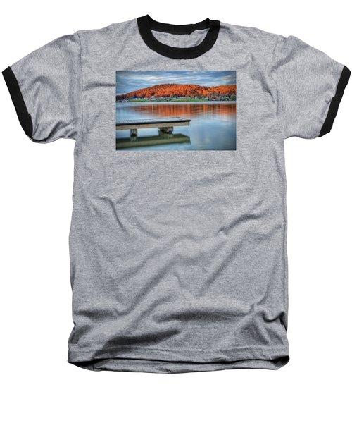 Autumn Red At Lake White Baseball T-Shirt