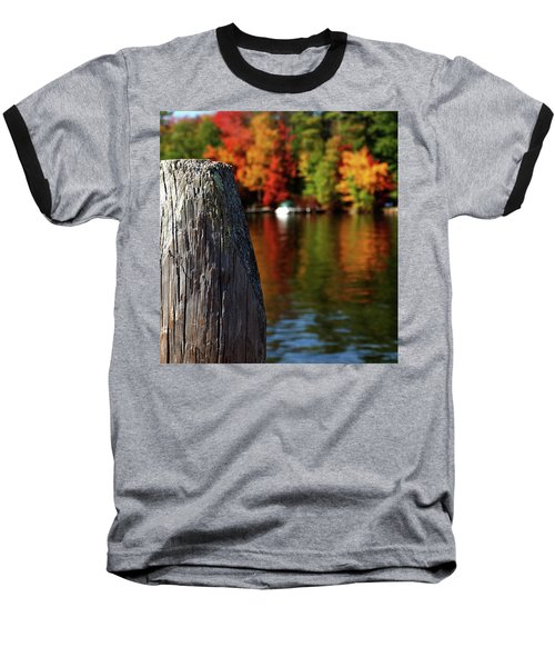 Lake Winnepesaukee Dock With Foliage In The Distance Baseball T-Shirt