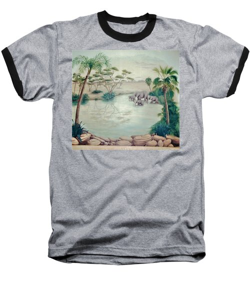 Lake With Oasis And Palm Trees Baseball T-Shirt