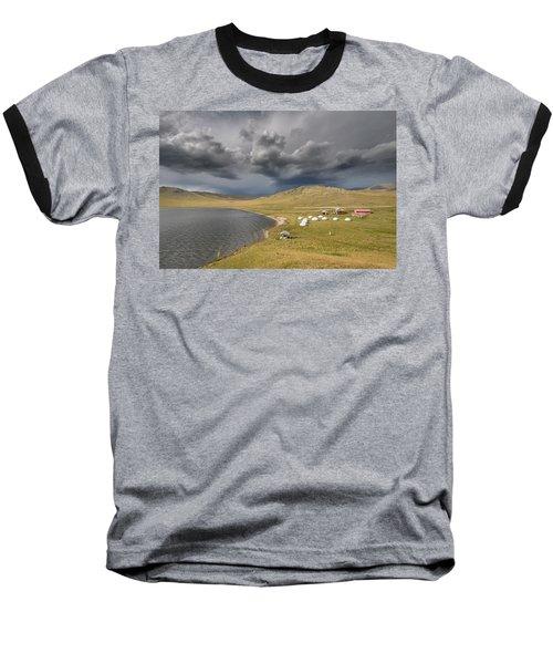 Baseball T-Shirt featuring the photograph Lakeside Camp, Khorgo, 2016 by Hitendra SINKAR