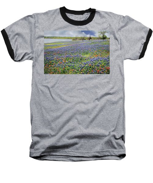 Baseball T-Shirt featuring the photograph Lakeside Texas Bluebonnets by David and Carol Kelly
