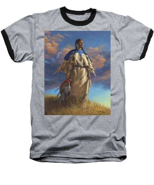 Lakota Woman Baseball T-Shirt by Kim Lockman