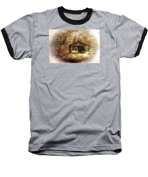 Baseball T-Shirt featuring the photograph Lamplighter Covered Bridge by Judy  Johnson