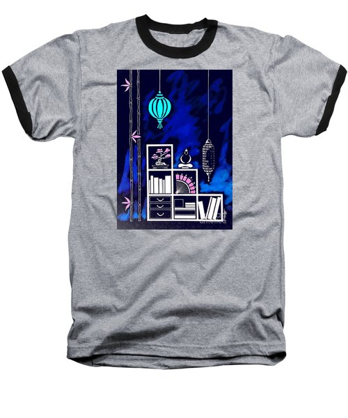 Lamps, Books, Bamboo -- Negative Baseball T-Shirt