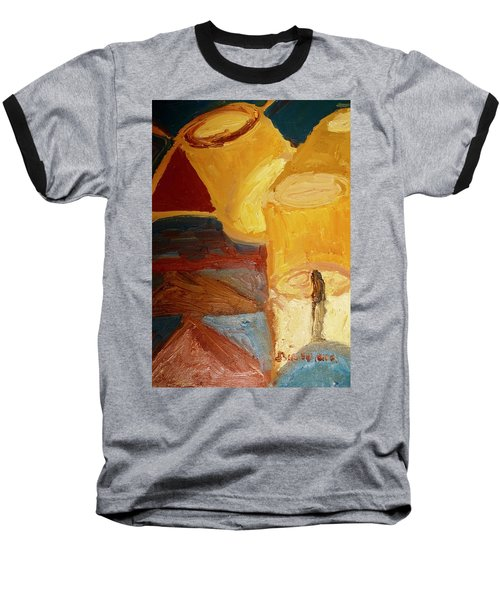 Baseball T-Shirt featuring the painting Lamps In Color by Shea Holliman
