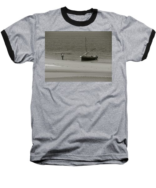 Lamu Island - Wooden Fishing Dhow Getting Unloaded - Black And White Baseball T-Shirt by Exploramum Exploramum