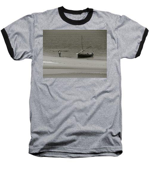Lamu Island - Wooden Fishing Dhow Getting Unloaded - Black And White Baseball T-Shirt
