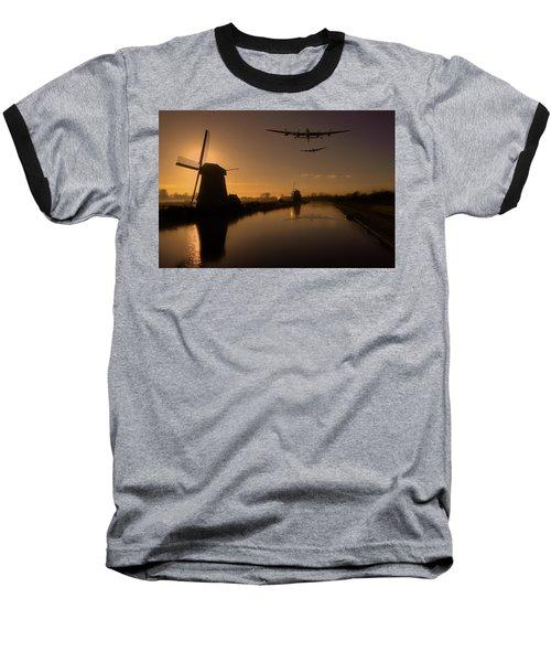 Lancaster Bombers And Dutch Windmills Baseball T-Shirt by Ken Brannen