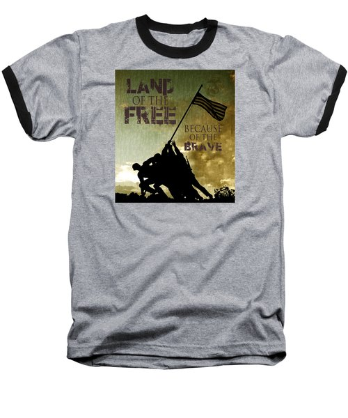 Land Of The Free Baseball T-Shirt by Dawn Romine