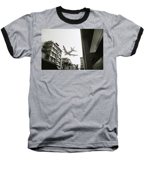 Landing In Hong Kong Baseball T-Shirt by Shaun Higson