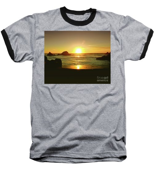 Lands End Sunset-the Golden Hour Baseball T-Shirt