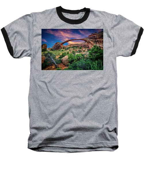 Landscape Arch At Sunset Baseball T-Shirt