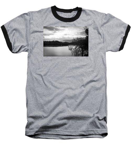Landscape In Black And White Nantahala River Blue Ridge Mountains Baseball T-Shirt by Kelly Hazel