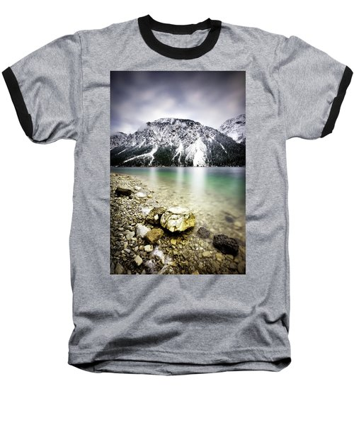Landscape Of Plansee Lake And Alps Mountains During Winter, Snowy View, Tyrol, Austria. Baseball T-Shirt