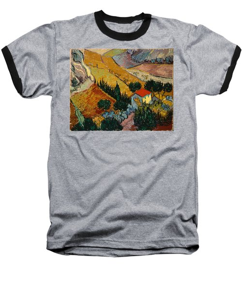Baseball T-Shirt featuring the painting Landscape With House And Ploughman by Van Gogh