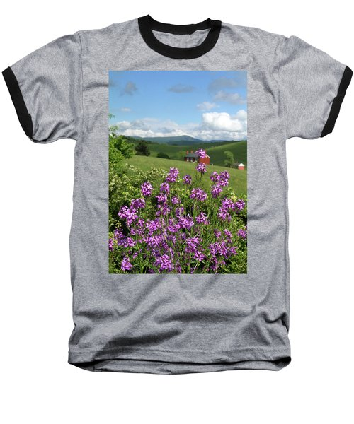 Baseball T-Shirt featuring the photograph Landscape With Purple Flowers by Emanuel Tanjala