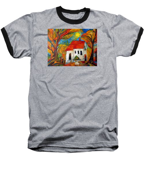 Landscape With The House Baseball T-Shirt by Mikhail Savchenko