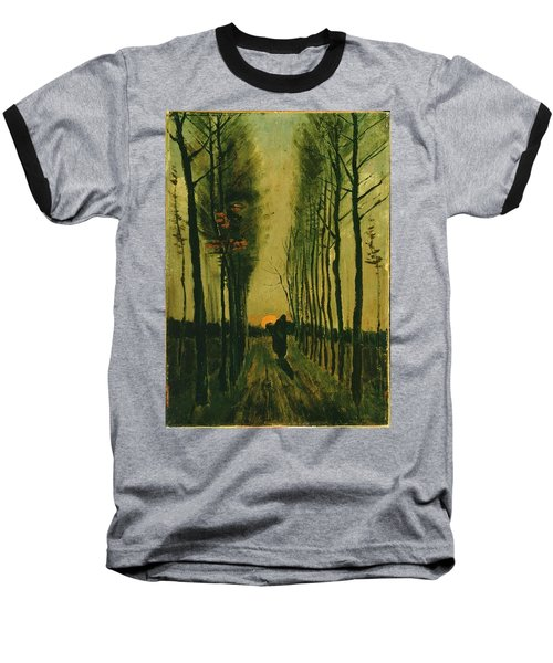 Baseball T-Shirt featuring the painting Lane Of Poplars At Sunset by Van Gogh