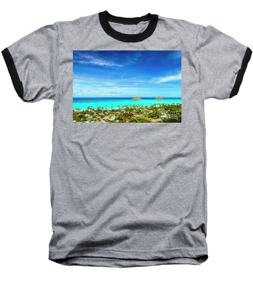 Lanikai Beach From The Pillbox Trail Baseball T-Shirt by Aloha Art