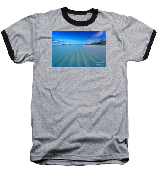 Lanikai Beach Ripples In The Sand Wide Baseball T-Shirt by Aloha Art