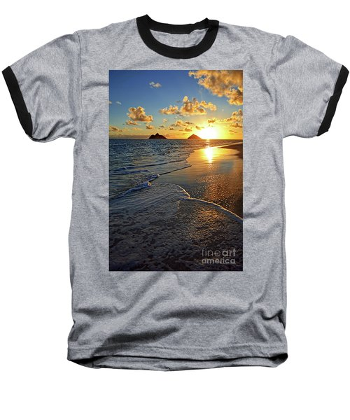 Lanikai Beach Sunrise Foamy Waves Baseball T-Shirt by Aloha Art