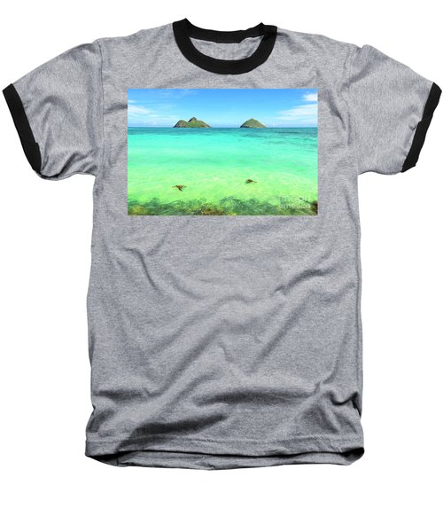 Lanikai Beach Two Sea Turtles And Two Mokes Baseball T-Shirt by Aloha Art