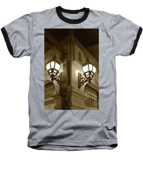 Baseball T-Shirt featuring the photograph Lanterns - Night In The City - In Sepia by Ben and Raisa Gertsberg