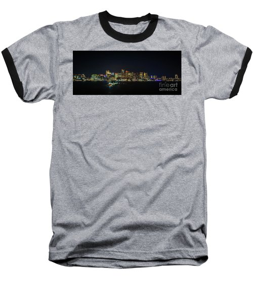 Large Panoramic Of Downtown Boston At Night Baseball T-Shirt