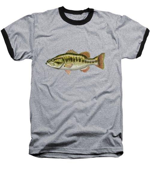 Largemouth Bass Baseball T-Shirt by Serge Averbukh