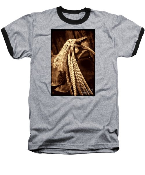 Lariat On A Saddle Baseball T-Shirt by American West Legend By Olivier Le Queinec