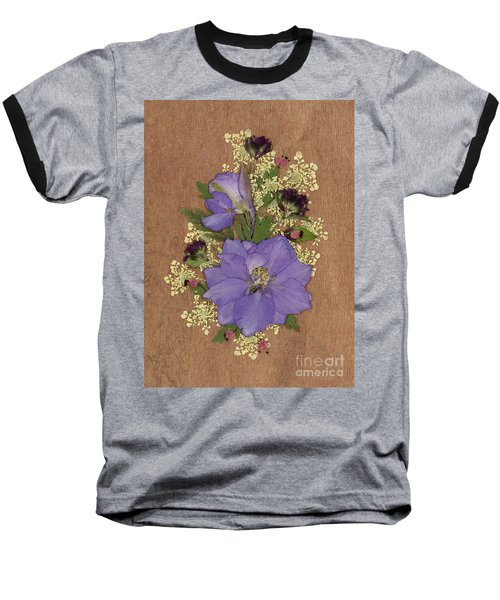 Larkspur And Queen-ann's-lace Pressed Flower Arrangement Baseball T-Shirt