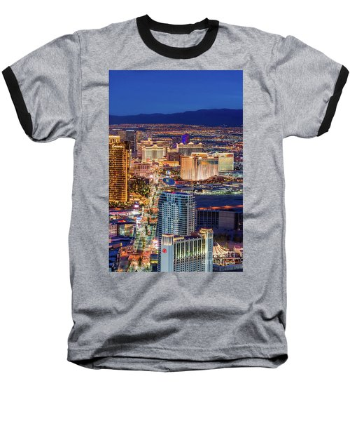Baseball T-Shirt featuring the photograph Las Vegas Strip From The Stratosphere Tower by Aloha Art