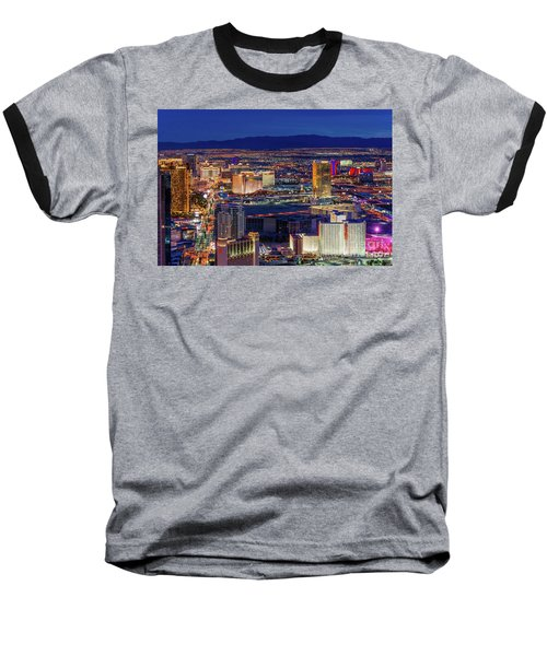 Baseball T-Shirt featuring the photograph Las Vegas Strip From The Stratosphere Wide by Aloha Art