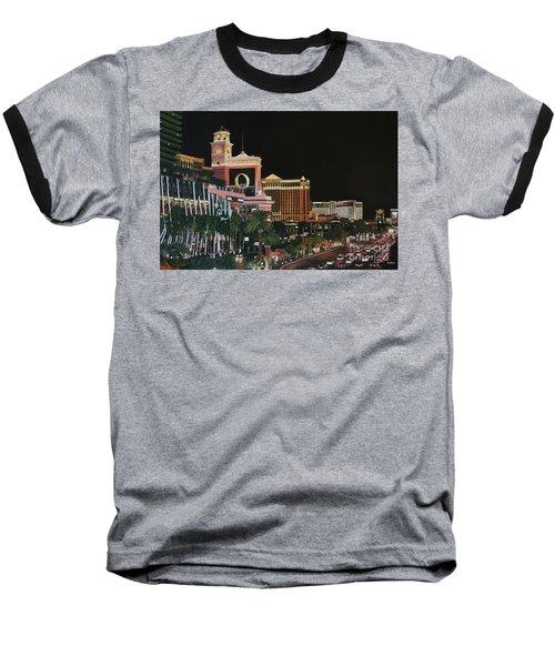 Las Vegas Strip Oil On Canvas Baseball T-Shirt