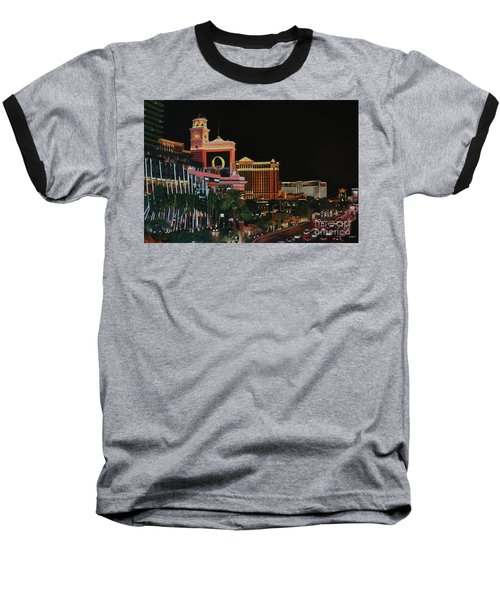 Las Vegas Strip Oil On Canvas Painting Baseball T-Shirt