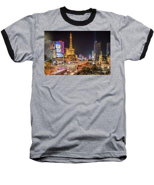 Las Vegas Strip Paris Baseball T-Shirt
