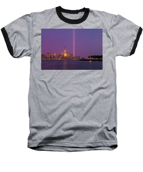 Baseball T-Shirt featuring the photograph Laser Twin Towers In New York City by Ranjay Mitra