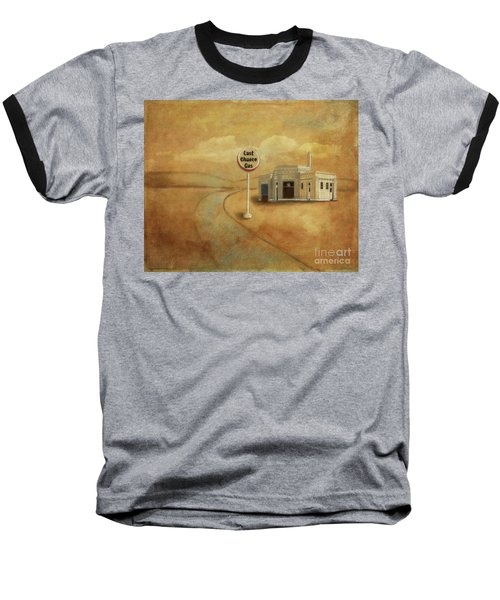 Baseball T-Shirt featuring the digital art Last Chance Gas by Lois Bryan