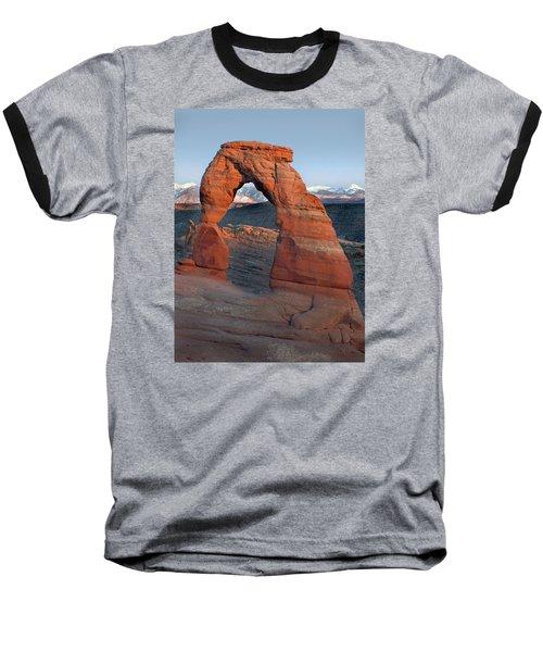 Last Light On Delicate Arch  Baseball T-Shirt by Jeff Brunton