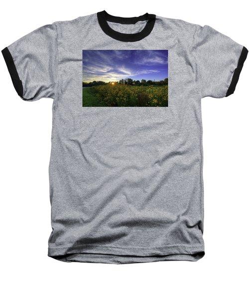 Last Rays Over The Flowers Baseball T-Shirt