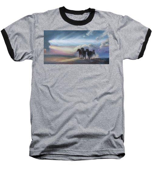 Last Run Of The Day Baseball T-Shirt by Karen Kennedy Chatham