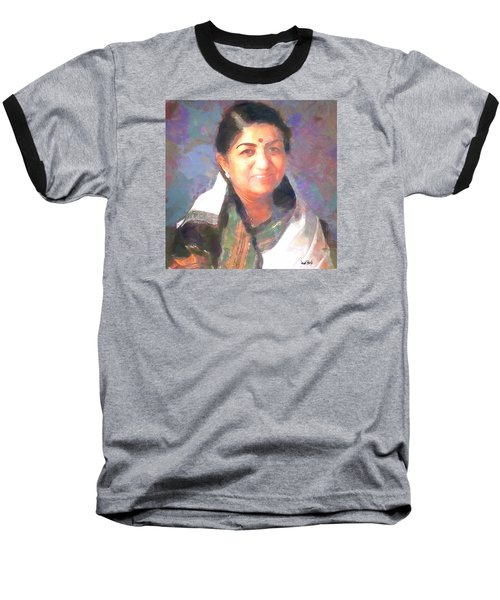 Baseball T-Shirt featuring the painting Lata Mangeshkar  by Wayne Pascall