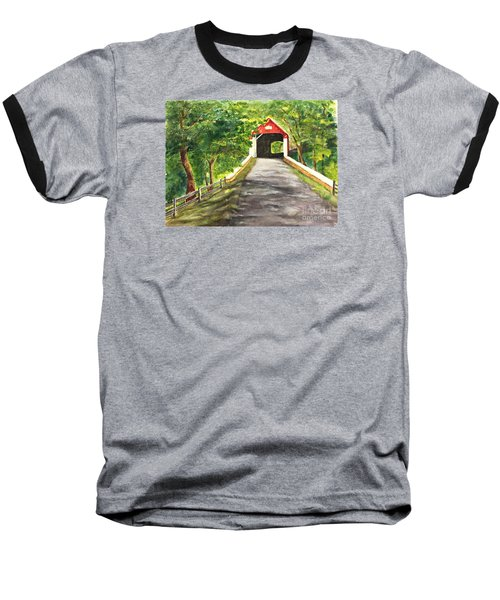 Late Afternoon At Knechts Covered Bridge   Baseball T-Shirt by Lucia Grilletto