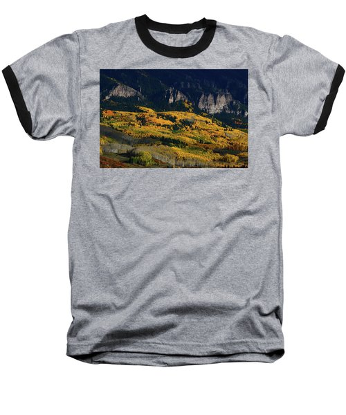 Late Afternoon Light On Aspen Groves At Silver Jack Colorado Baseball T-Shirt by Jetson Nguyen