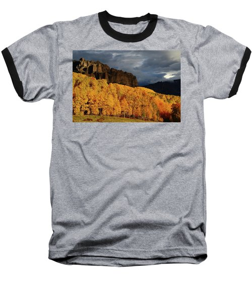 Late Afternoon Light On The Cliffs Near Silver Jack Reservoir In Autumn Baseball T-Shirt by Jetson Nguyen