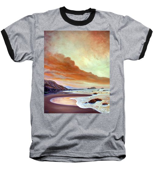 Baseball T-Shirt featuring the painting Late Afternoon On San Simeon Beach by Michael Rock