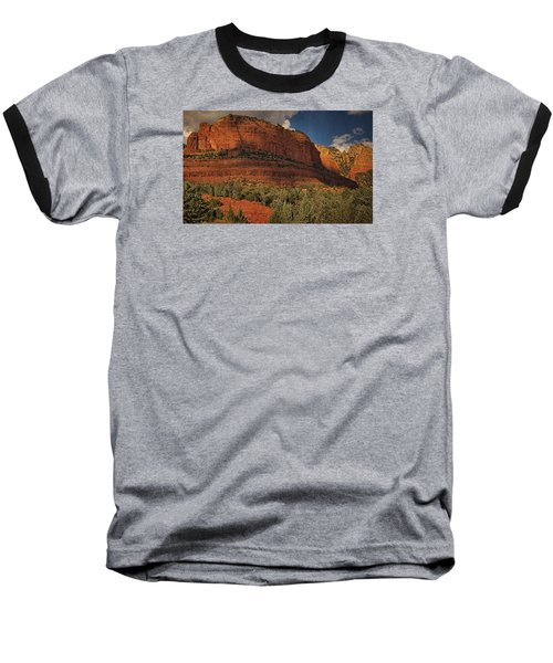 Late Light At Brin's Mesa Txt Pano Baseball T-Shirt