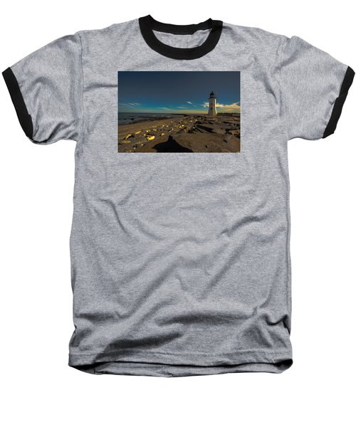 Late Light At The Light Baseball T-Shirt by Brian MacLean